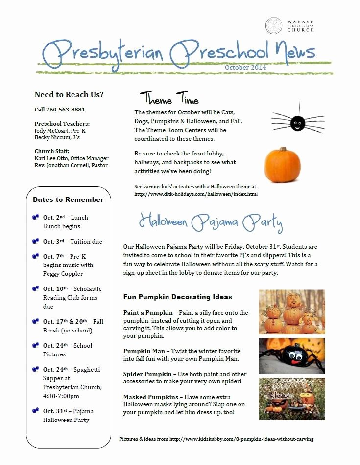 Free October Newsletter Template Inspirational Halloween Sign Up Sheets for Preschool Party – Festival