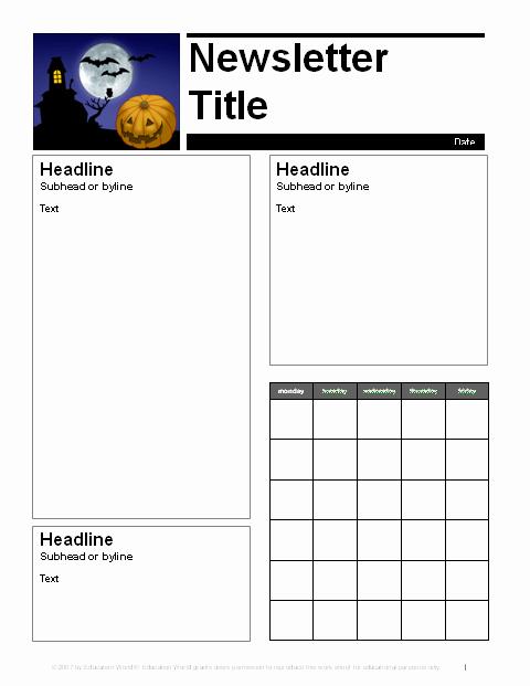 Free October Newsletter Template Inspirational October Parent Newsletter Template