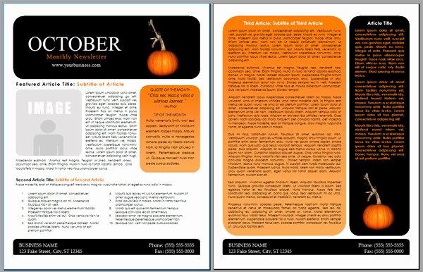 Free October Newsletter Template Inspirational Worddraw Free Halloween Newsletter Templates