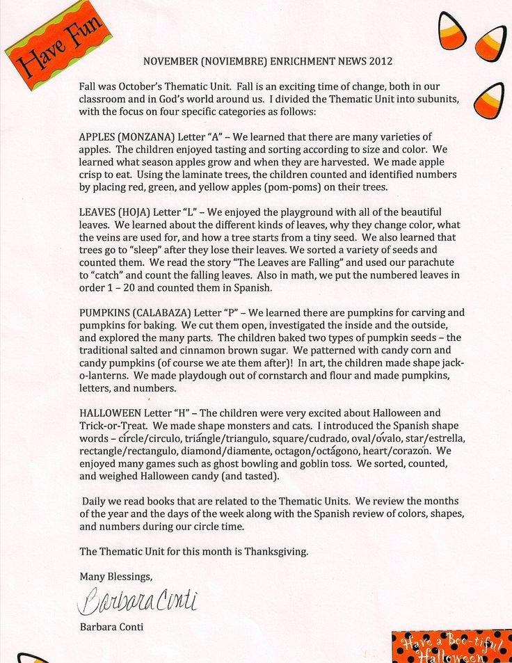 Free October Newsletter Template Lovely 1000 Ideas About Preschool Newsletter On Pinterest