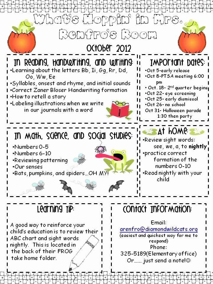 Free October Newsletter Template Lovely Kindergarten Times October Newsletter