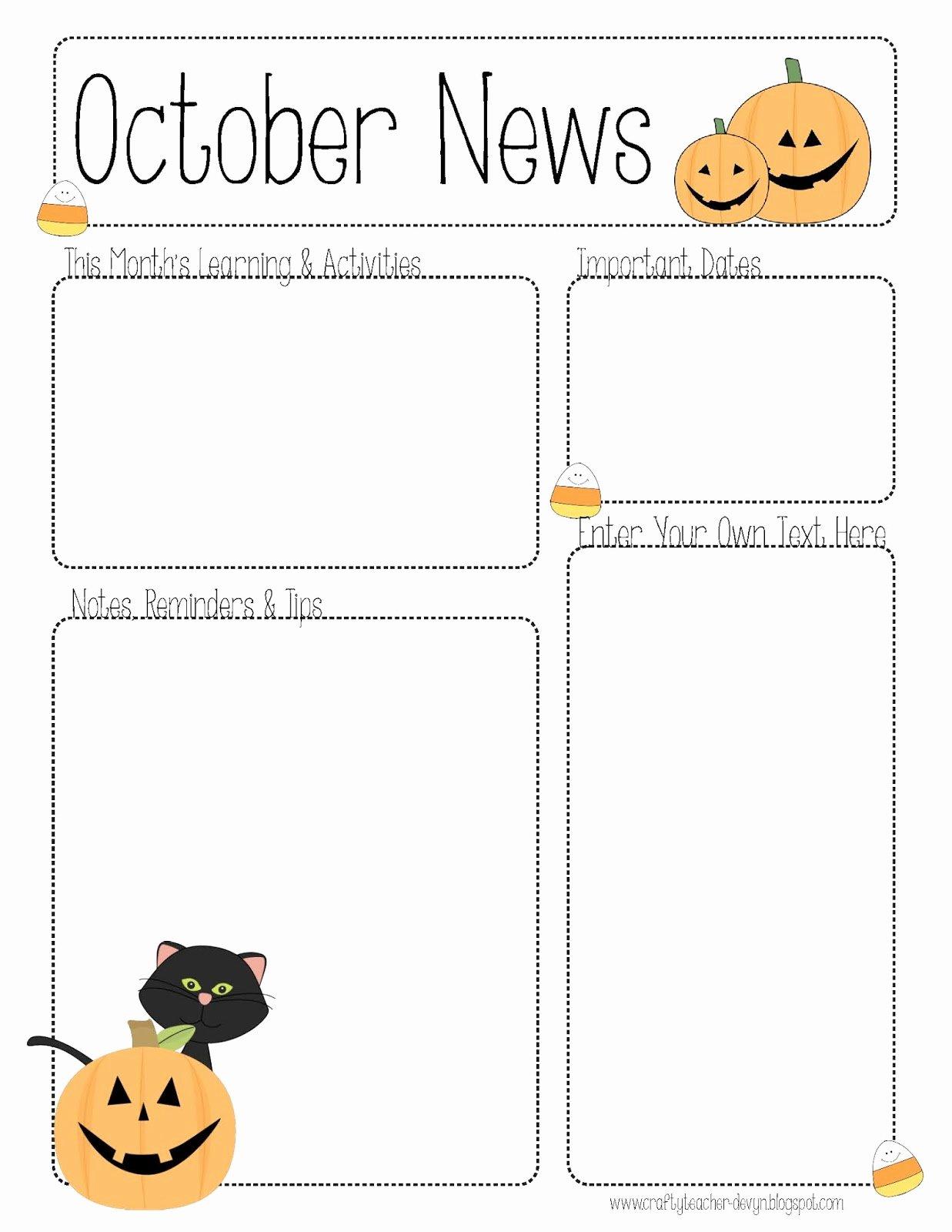Free October Newsletter Template Lovely October Newsletter Template