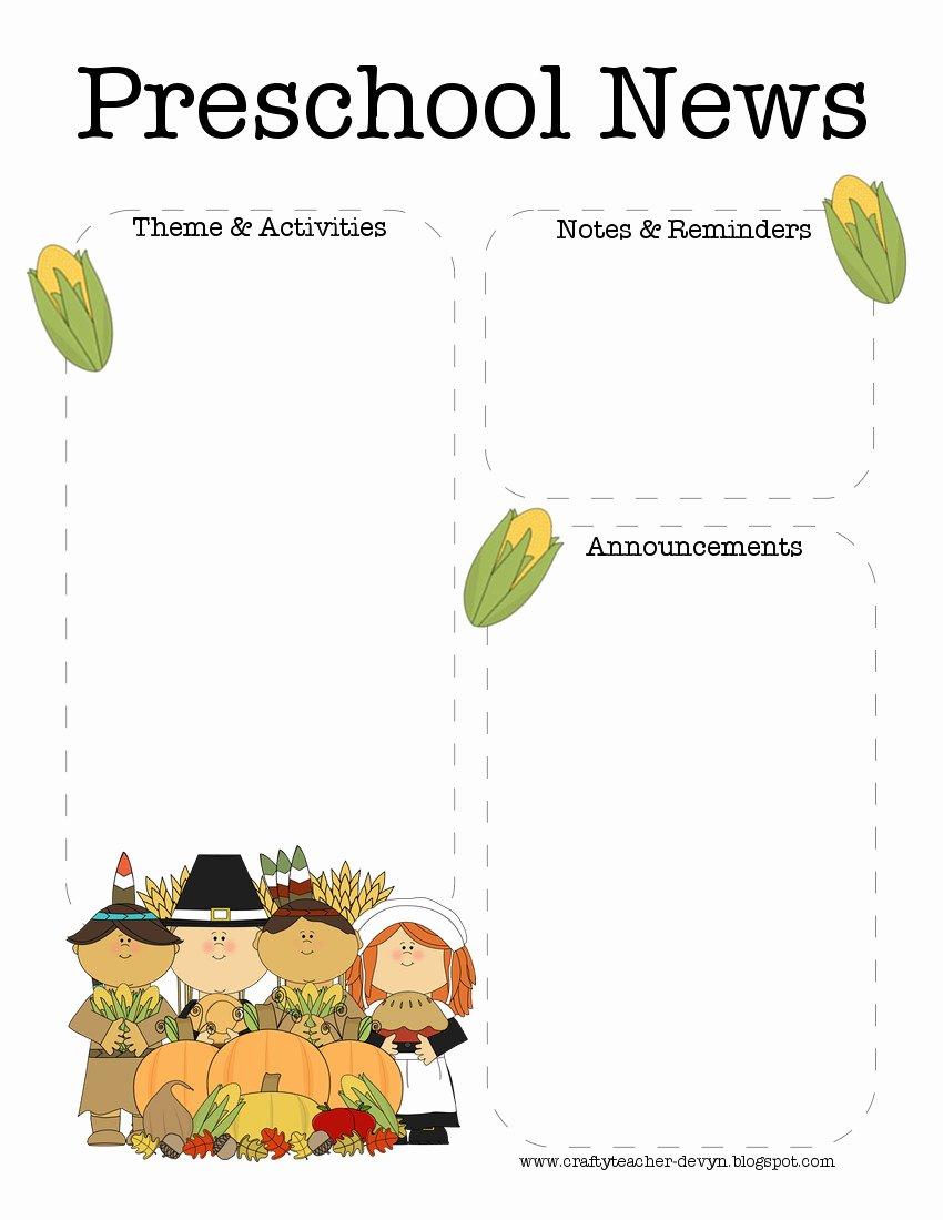 Free October Newsletter Template Luxury November Thanksgiving Preschool Newsletter Template