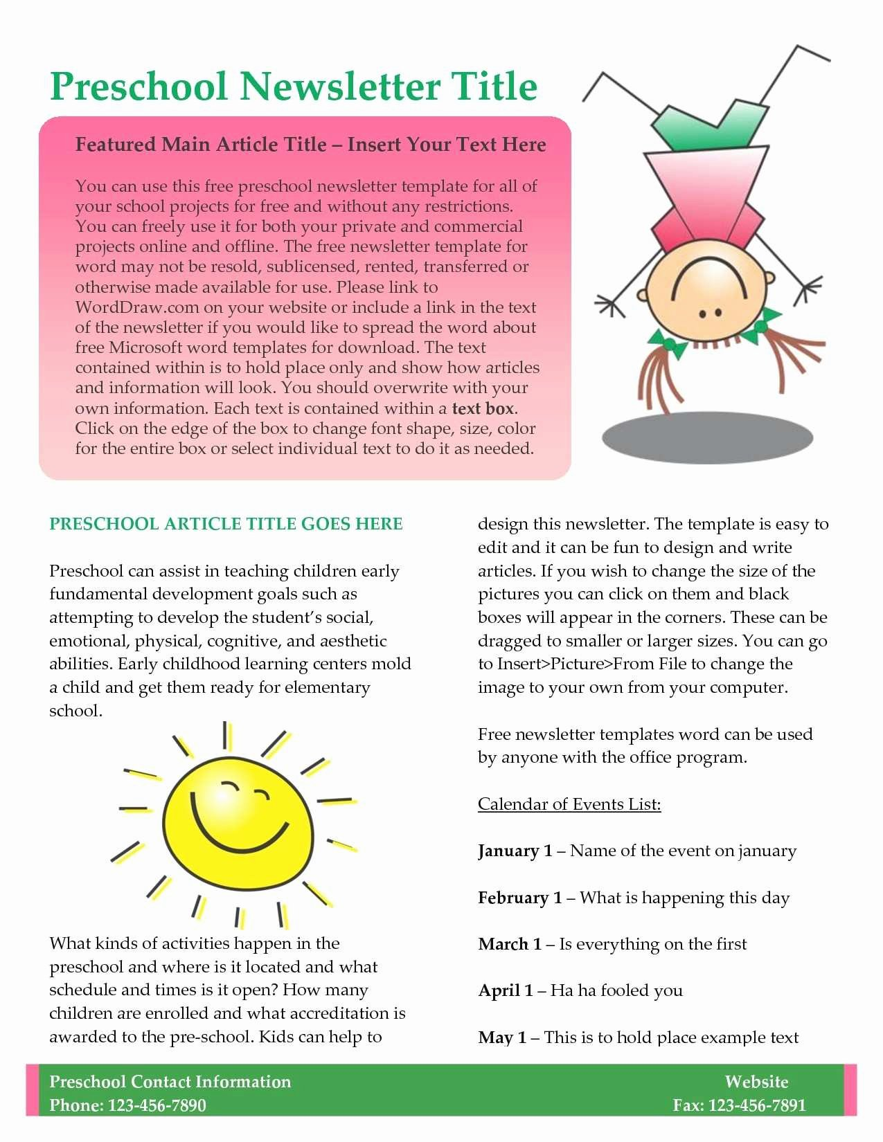 Free October Newsletter Template Unique Inspirational Free October Preschool Newsletter Templates