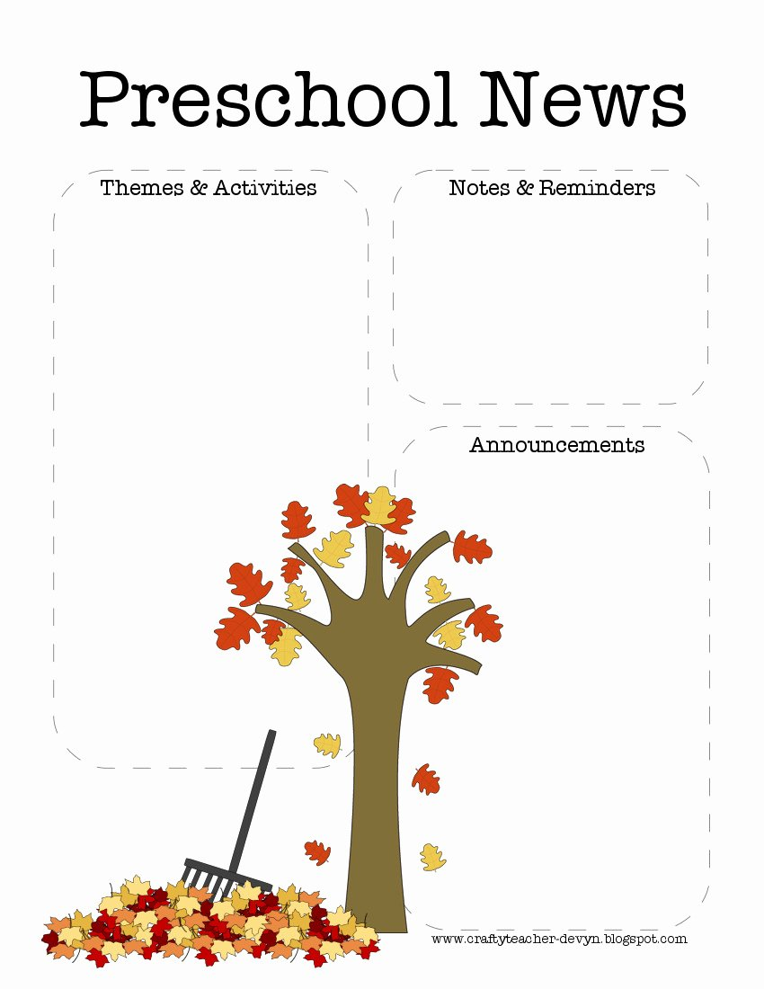 Free October Newsletter Template Unique the Crafty Teacher Fall Preschool Newsletter Template