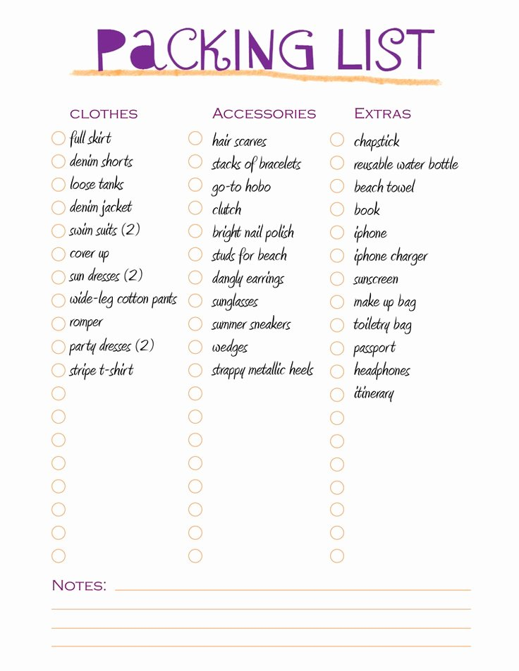 Free Packing List Template Elegant 17 Best Ideas About Packing List Template On Pinterest