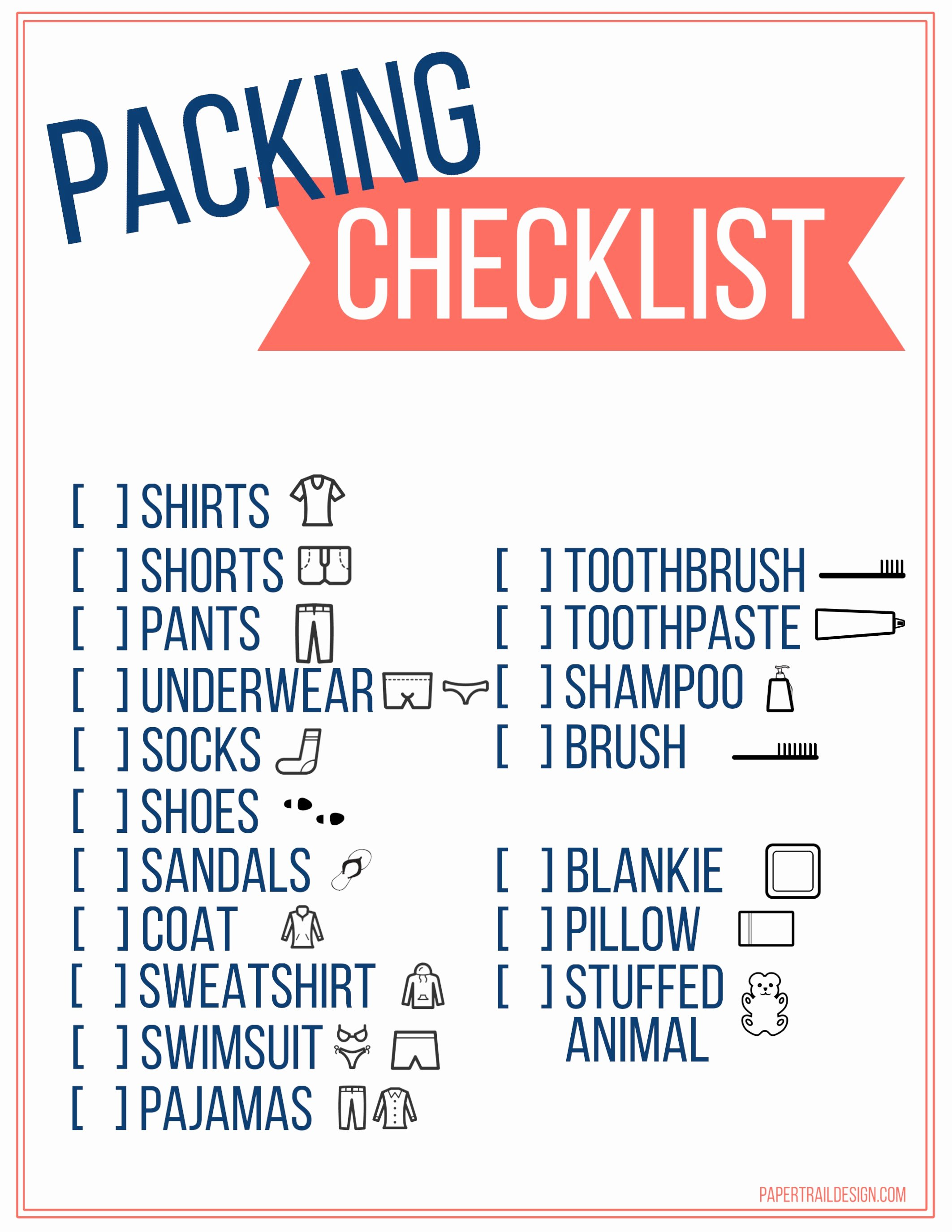 Free Packing List Template Fresh Free Printable Vacation Packing List Template for Kids