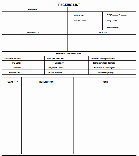 Free Packing List Template Lovely 21 Free Packing List Template Word Excel formats