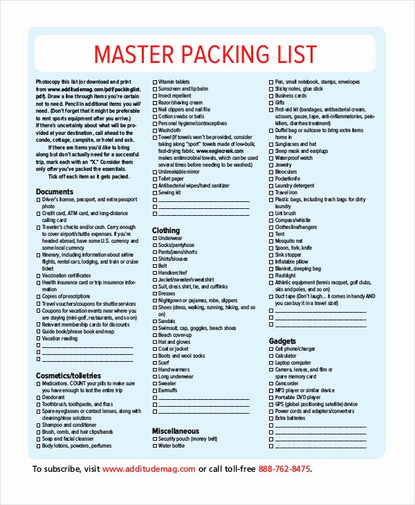Free Packing List Template Luxury Packing List Template 14 Free Word Pdf Documents