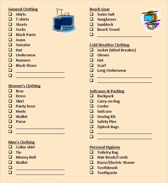Free Packing List Template New 9 Packing List Templates – Free Samples Examples