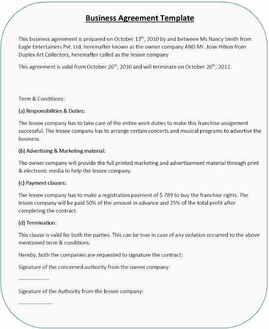 Free Partnership Agreement Template Word Beautiful Business Agreement Templates – 5 Free Word Pdf Samples