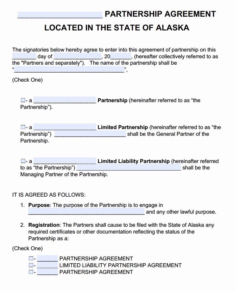 Free Partnership Agreement Template Word Beautiful Free Alaska Partnership Agreement Template Pdf