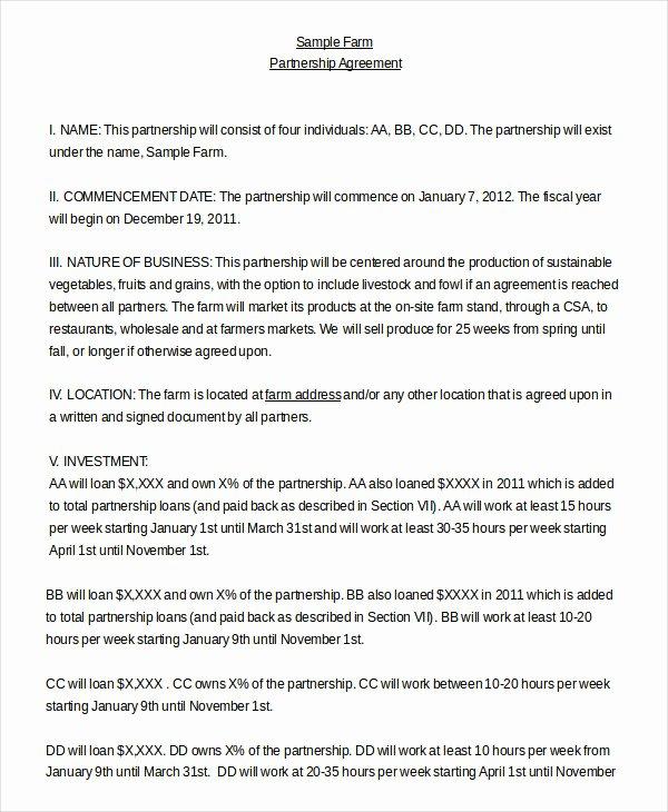 Free Partnership Agreement Template Word Best Of Partnership Agreement 11 Free Word Pdf Documents