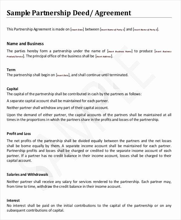 Free Partnership Agreement Template Word Fresh 8 Agreement Templates & Samples Word Pdf