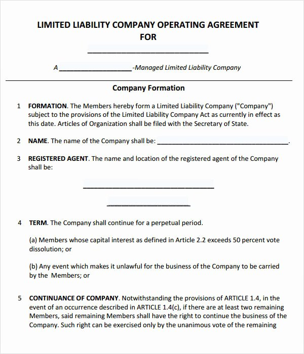 Free Partnership Agreement Template Word Fresh 8 Sample Operating Agreement Templates to Download