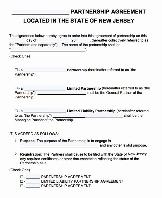 Free Partnership Agreement Template Word Fresh Free New Jersey Partnership Agreement Template Pdf