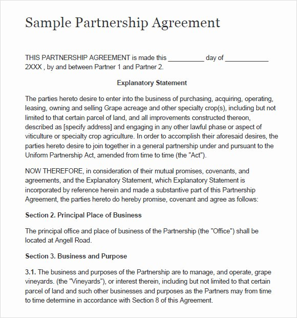 Free Partnership Agreement Template Word Lovely 8 Sample Partnership Agreements