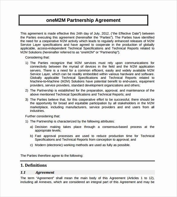 Free Partnership Agreement Template Word Unique 16 Partnership Agreement Templates
