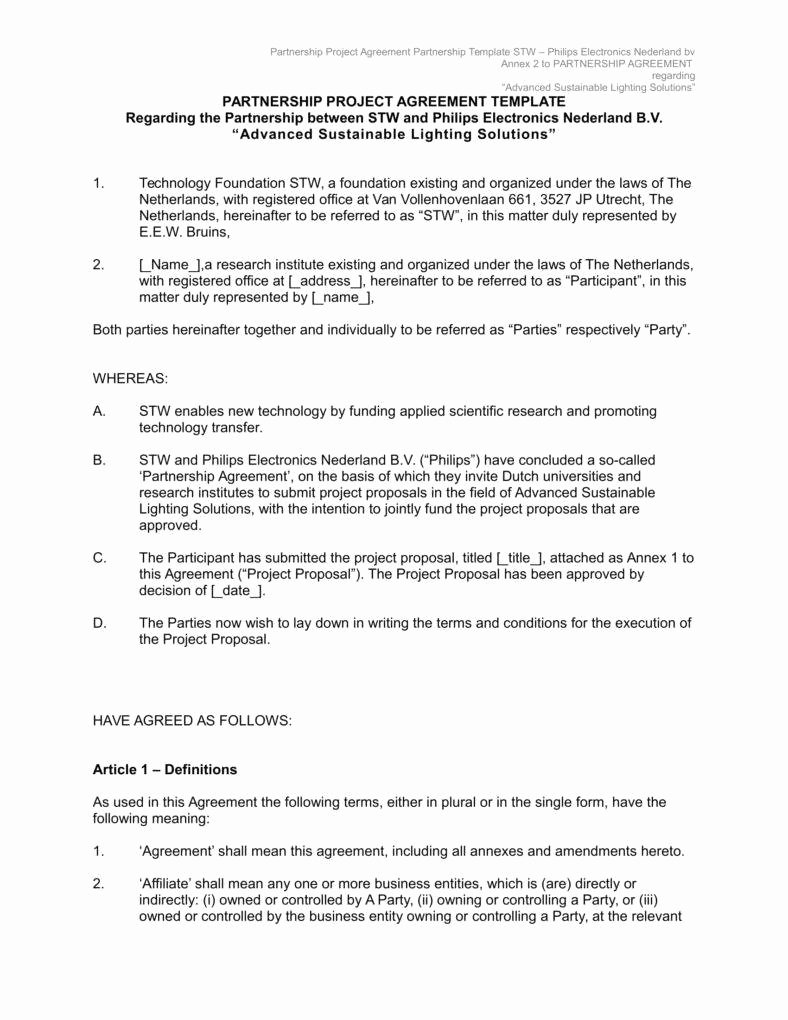 Free Partnership Agreement Template Word Unique the Importance Of Written Business Agreements