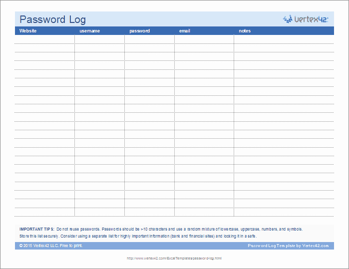 Free Password Spreadsheet Template Inspirational Password Log Template