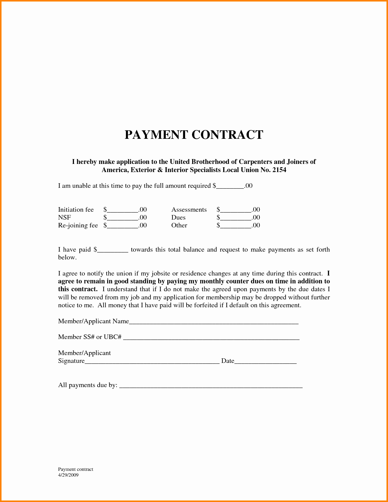 Free Payment Agreement Template Awesome Free Payment Agreement Template Portablegasgrillweber