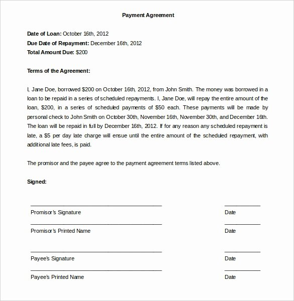 Free Payment Agreement Template Best Of Payment Agreement Template