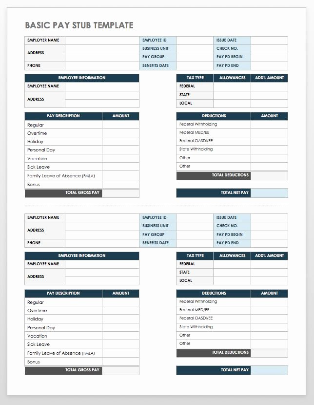 Free Payroll Check Stub Template Awesome Free Pay Stub Templates