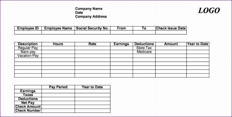 Free Payroll Check Stub Template Inspirational 7 Excel Paycheck Template Exceltemplates Exceltemplates