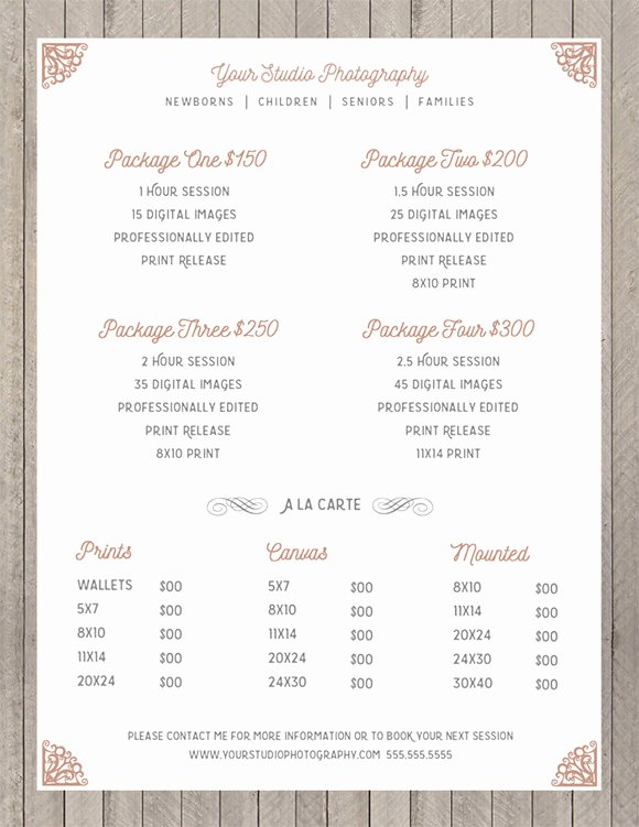 Free Photography Price List Template Beautiful 10 Sell Sheet Templates – Samples Examples & format