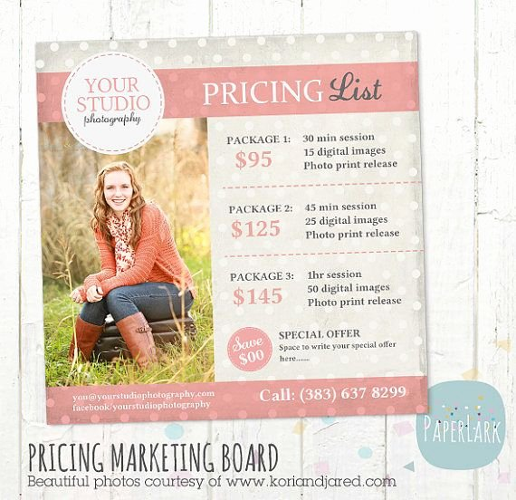 Free Photography Price List Template Beautiful Graphy Pricing Packages Marketing Board Shop