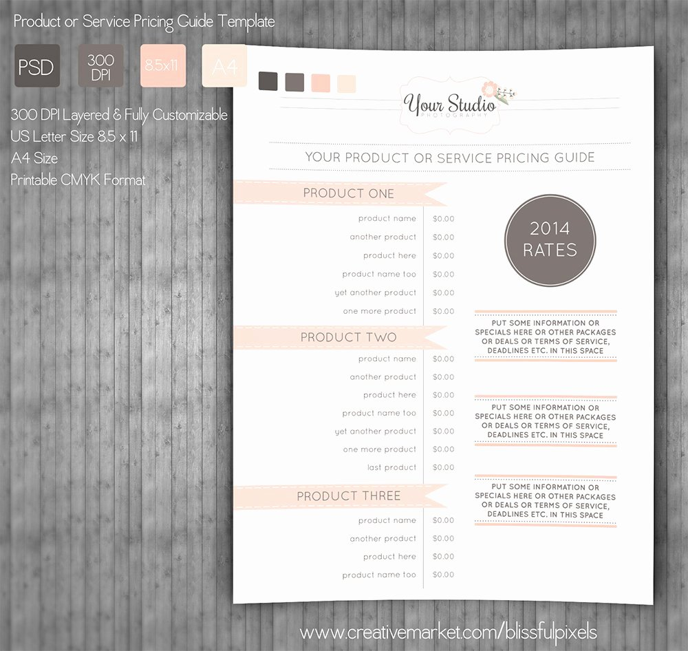 Free Photography Price List Template Beautiful Pricing Guide Template Stationery Templates Creative