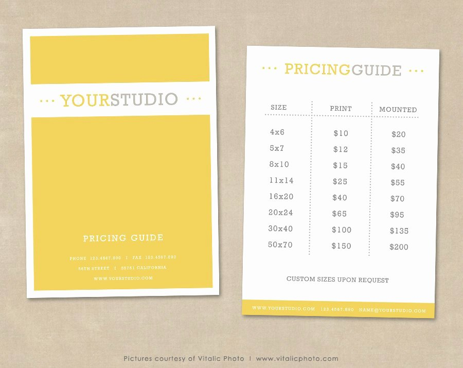 Free Photography Price List Template Best Of Graphy Pricing Guide Template Price List Shop