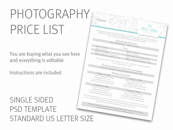 Free Photography Price List Template Elegant 20 Price List Templates Word Excel Pdf formats