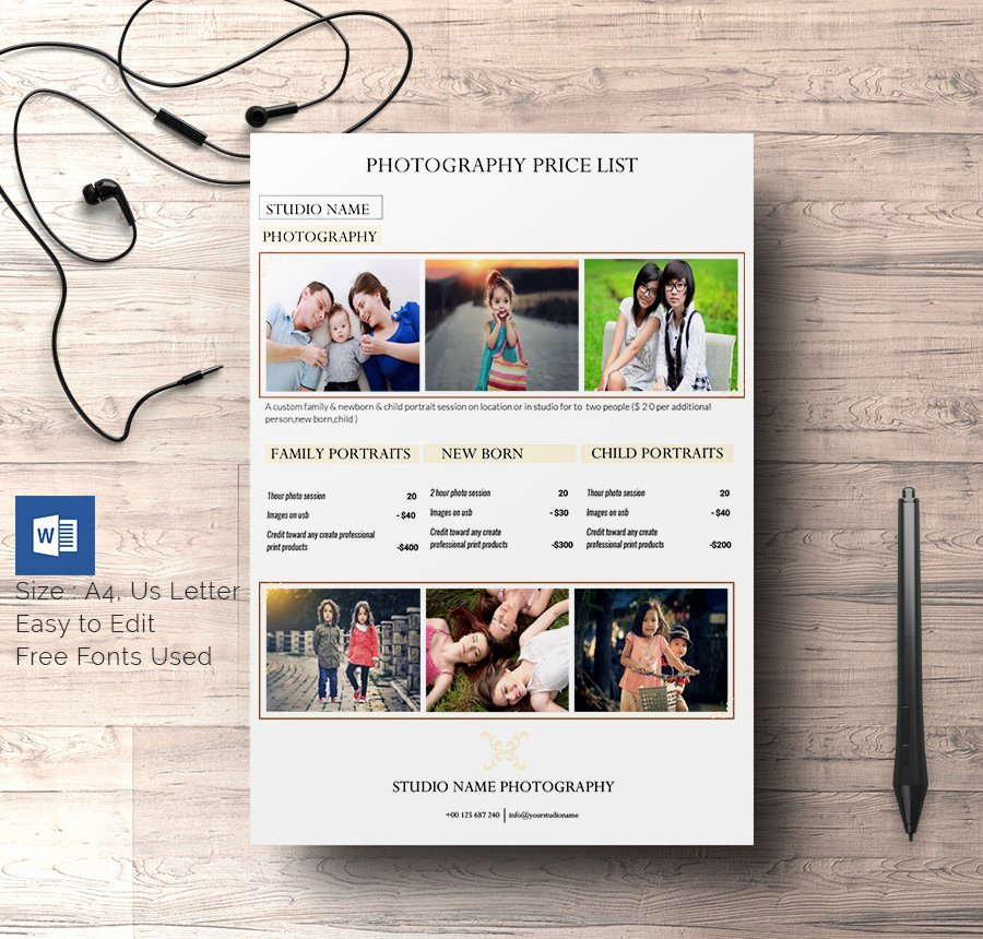 Free Photography Price List Template Fresh 25 Price List Templates Doc Pdf Excel Psd