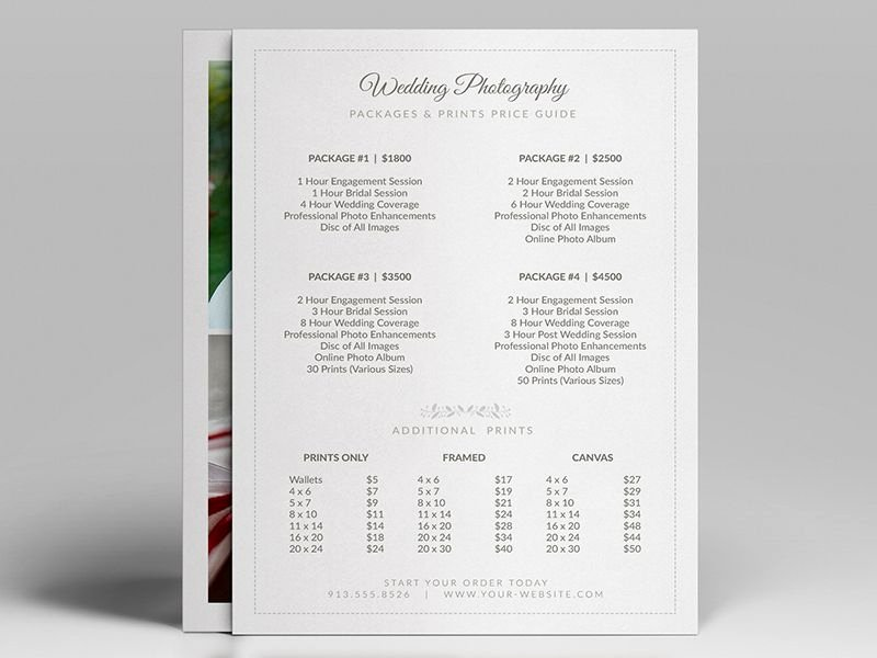 "Free Photography Price List Template Fresh Easy to Customize 5"" X 7"" Wedding Grapher Pricing"