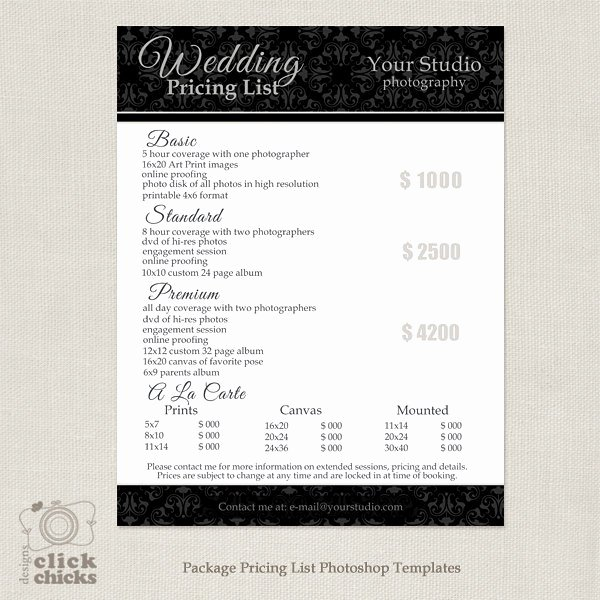 Free Photography Price List Template Luxury Graphy Package Pricing List Template Wedding
