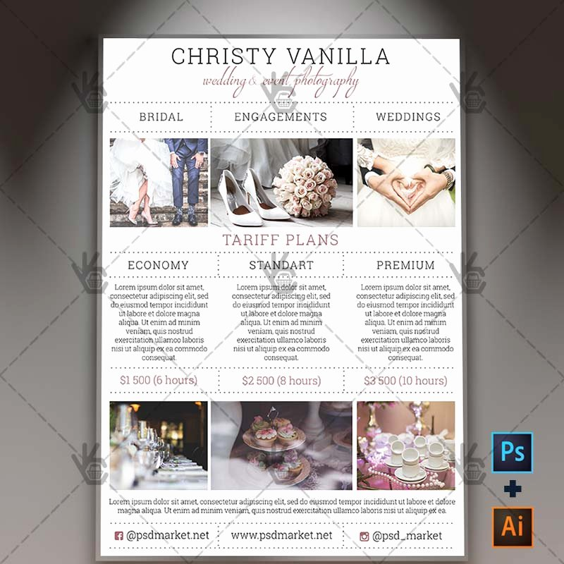 Free Photography Price List Template Luxury Wedding Grapher Pricelist Free A4 Flyer Psd Ai Template