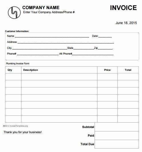 Free Plumbing Invoice Template Beautiful 14 Free Plumbing Invoice Templates Demplates