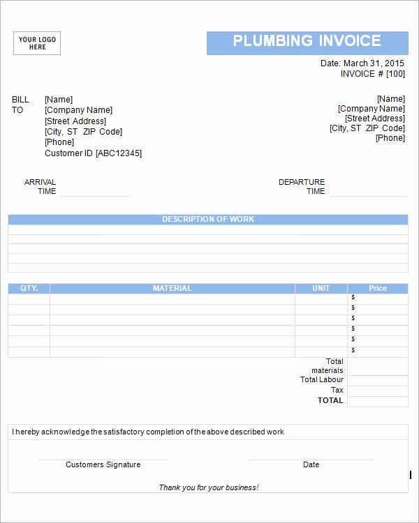Free Plumbing Invoice Template Beautiful 53 Blank Invoice Template Word Google Docs Google Sheets