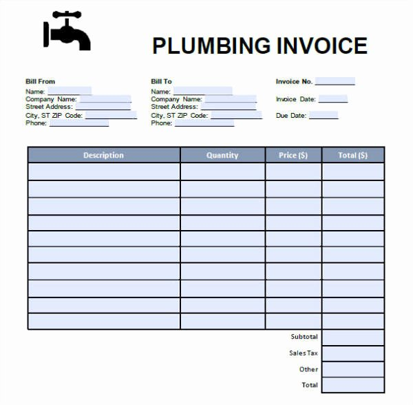 Free Plumbing Invoice Template Beautiful 7 Plumbing Invoice – Free Downloadable Samples Examples