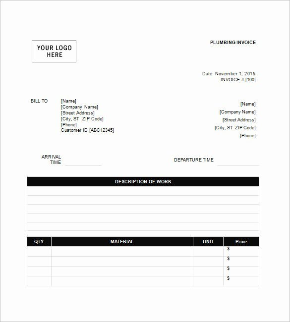 Free Plumbing Invoice Template Best Of Plumbing Invoice Template 8 Free Word Excel Pdf