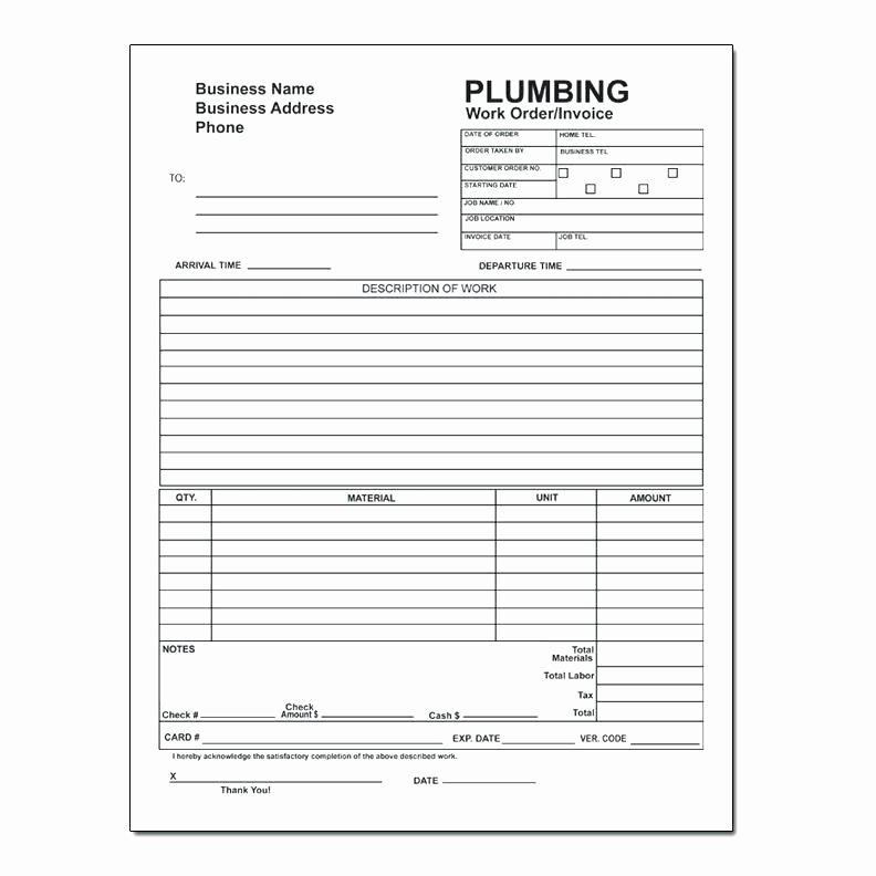 Free Plumbing Invoice Template Best Of Plumbing Work order Template – Reach