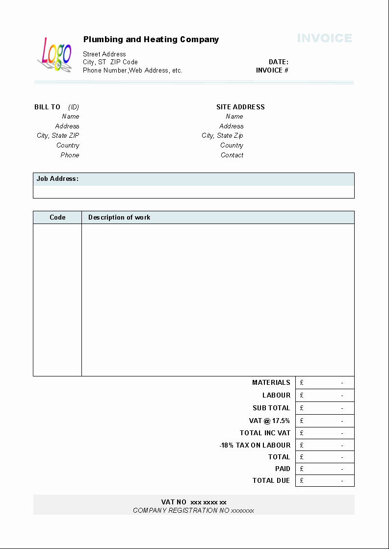 Free Plumbing Invoice Template Elegant Plumbing and Heating Invoice form Uniform Invoice software