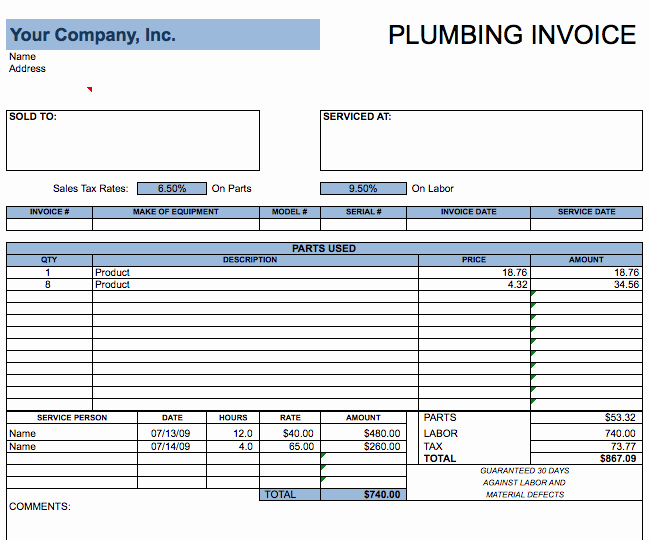 Free Plumbing Invoice Template Elegant Plumbing Invoice Template – Free Invoice Templates