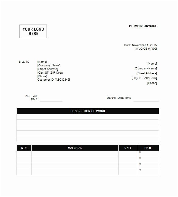 Free Plumbing Invoice Template Fresh Plumbing Invoice Free Download Printable Templates Lab