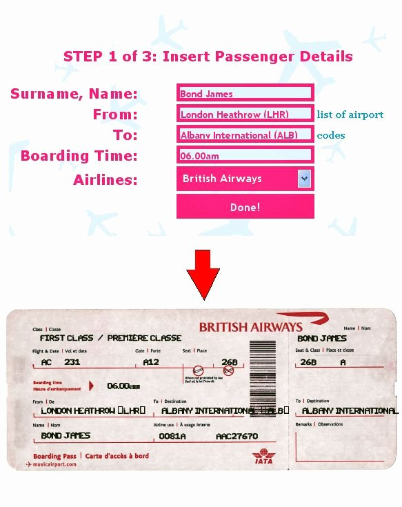 Free Printable Airline Ticket Template Awesome Ticket O Matic is the Best Fake Airline Ticket Generator