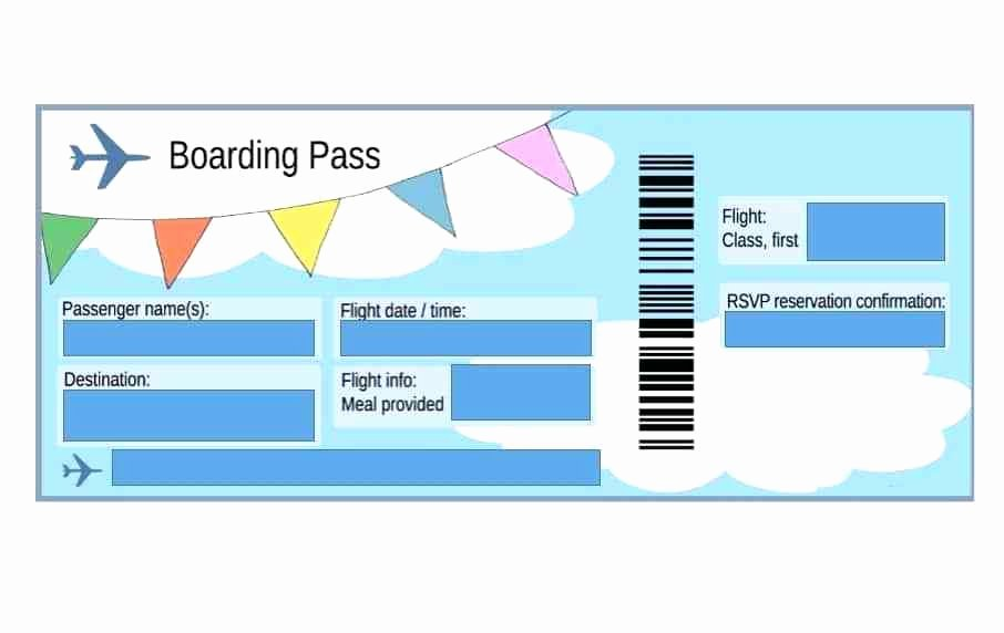 Free Printable Airline Ticket Template Elegant Fake Boarding Pass Template Flight Worksheet for Gift