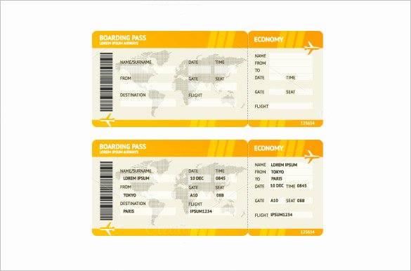 Free Printable Airline Ticket Template Fresh Ticket Templates – 99 Free Word Excel Pdf Psd Eps