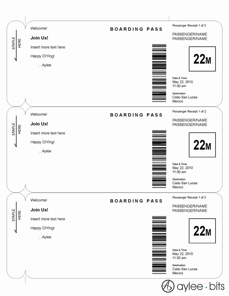 Free Printable Airline Ticket Template Inspirational Boarding Pass Invitation Template by Ayleebits