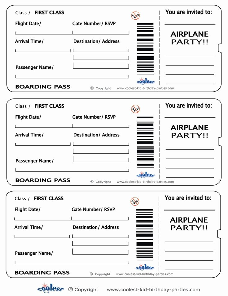 Free Printable Airline Ticket Template Inspirational Printable Airplane Boarding Pass Invitations Coolest